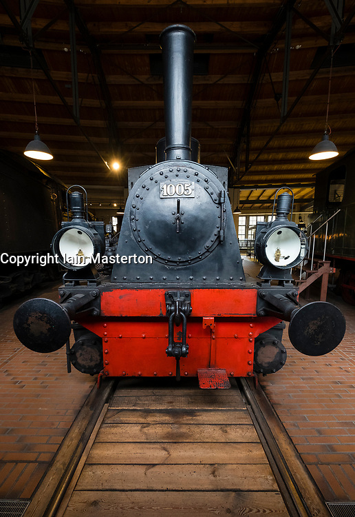 Steam locomotives on display at Deutsches Technikmuseum, German Museum of Technology, in Berlin, Germany