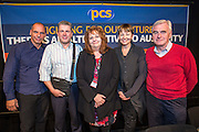 Yanis Varoufakis, Mark Serwotka, Janice Godrich, Caroline Lucas and John McDonnell. PCS public fringe meeting at TUC congress 2015. Fighting for our future: There is an alternative to austerity.