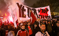 Anti-Terror Proteste in Istanbul - Fussballfans marschieren zum Stadion / 121216<br /> <br /> *** Soccer fans chant slogans to protest Saturday's twin terror attacks as they march toward a soccer stadium in Istanbul, Monday, December 12, 2016.  Nearly 44 people, mostly police officers lost their lives after twin bomb attacks outside the stadium in Istanbul Saturday night following a soccer game.  ***