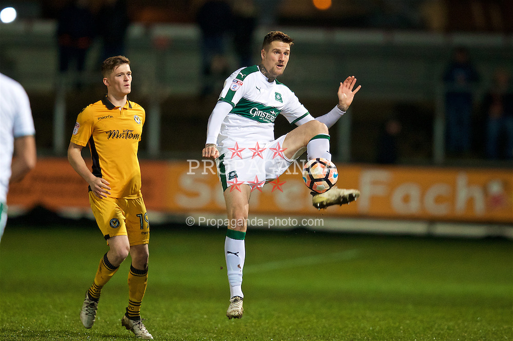 NEWPORT, WALES - Wednesday, December 21, 2016: Plymouth Argyle's Sonny Bradley in action against Newport County during the FA Cup 2nd Round Replay match at Rodney Parade. (Pic by David Rawcliffe/Propaganda)