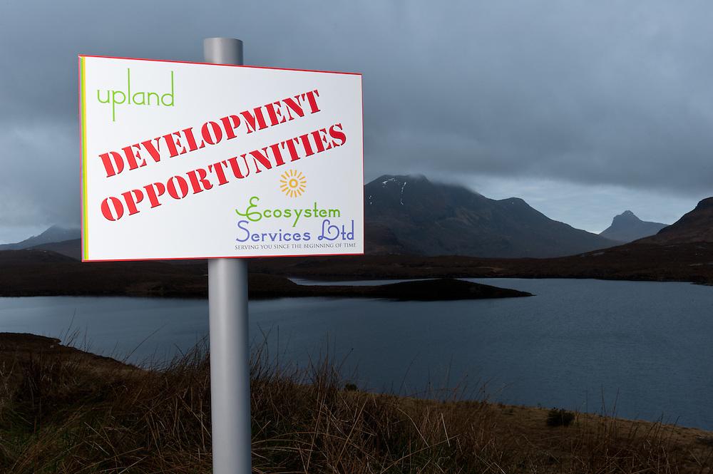Spoof development sign, Assynt, Scotland