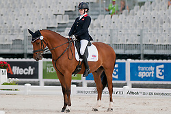 Sophie Christiansen riding Janeiro 6 in the Grade 1a Para-Dressage at the 2014 World Equestrian Games, Caen, Normandy, France..