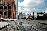 View of the Brooklyn bridge from John street in DUMBO, Brooklyn, with the old railroad tracks, New York, 2008.