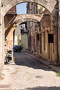 Quiet back street and housing, Rhodes town, Rhodes, Greece