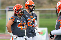 KELOWNA, BC - SEPTEMBER 22: Will Kuyvenhoven #43 and Kale Bergland #23 of Okanagan Sun stand on the field during warm up against the Valley Huskers  at the Apple Bowl on September 22, 2019 in Kelowna, Canada. (Photo by Marissa Baecker/Shoot the Breeze)