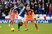 Ipswich Town striker Freddie Sears tracks Birmingham City midfielder David Davis during the Sky Bet Championship match between Birmingham City and Ipswich Town at St Andrews, Birmingham, England on 23 January 2016. Photo by Alan Franklin.