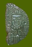 Mayan Jade object (Pectoral) depicting a god c200-900 AD, Mexico. Mesoamerican Pre-Columbian Artefact