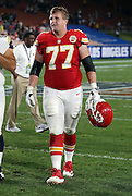 Kansas City Chiefs offensive tackle Jordan Devey (77) walks off the field after the 2016 NFL preseason football game against the Los Angeles Rams on Saturday, Aug. 20, 2016 in Los Angeles. The Rams won the game 21-20. (©Paul Anthony Spinelli)