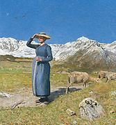 Giovanni Segantini (1858 - 1899), Italian painter. 'Mid day in the Alps'