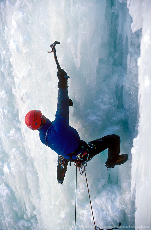 Dale Remsberg leading the ice climb ICBC, rated WI5, Lillooet, British Columbia.