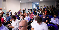 NAPLES, ITALY - Monday, September 16, 2019: Italian and English journalists during a press conference at the Stadio San Paolo ahead of the UEFA Champions League Group E match between SSC Napoli and Liverpool FC. (Pic by David Rawcliffe/Propaganda)