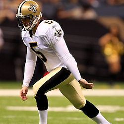 August 21, 2010; New Orleans, LA, USA; New Orleans Saints place kicker Garrett Hartley (5) during a preseason game against the Houston Texans at the Louisiana Superdome. Mandatory Credit: Derick E. Hingle