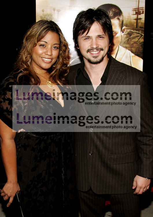 "Freddy Rodriguez and wife Elsie at the Los Angeles Premiere of ""Harsh Times"" held at the Crest Theater in Westwood, USA on November 5, 2006."
