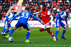 Alex Rodman of Bristol Rovers stops an attack by Hakeeb Adelakun of Rotherham United - Mandatory by-line: Ryan Crockett/JMP - 18/01/2020 - FOOTBALL - Aesseal New York Stadium - Rotherham, England - Rotherham United v Bristol Rovers - Sky Bet League One