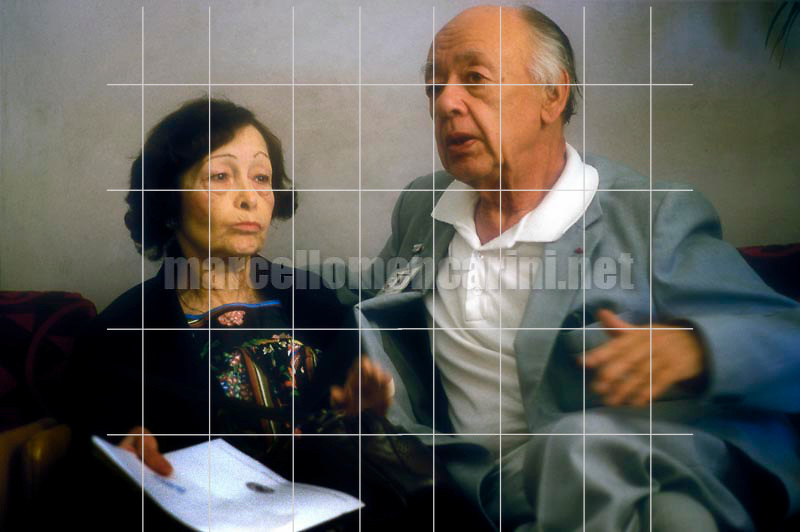 Romanian-French playwright and dramatist Eugène Ionesco and his wife Rodica Burileanu (about 1985) / Il drammaturgo Eugène Ionesco e sua moglie Rodica Burileanu (1985 circa) - © Marcello Mencarini