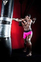 MMA Fighter Phil Davis, Mr. Wonderful punching and kicking a heavy bag