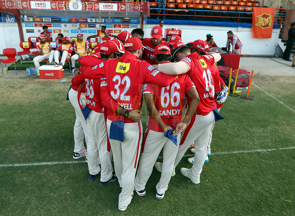 Kings XI Punjab team huddle before the start of the second innings of the  match 26 of the Vivo 2017 Indian Premier League between the Gujarat Lions and the Kings XI Punjab held at the Saurashtra Cricket Association Stadium in Rajkot, India on the 23rd April 2017<br /> <br /> Photo by Sandeep Shetty - Sportzpics - IPL