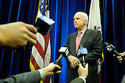 "Arizona Senator and presidential candidate John McCain fields questions from the press after delivering a speech to the Hoover Institute at Stanford University in Palo Alto, CA, May 1, 2007.  Among the topics of McCain's speech was the need to forge a ""League of Democracies"" that would represent ""like-minded nations working together in the cause of peace."""