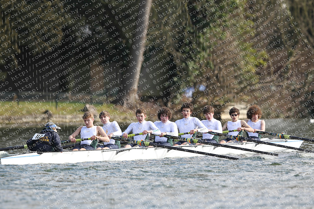 2012.02.25 Reading University Head 2012. The River Thames. Division 1. Kings School Chester Boat Club J15A 8+