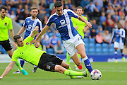 Northampton defender Zander Diamond (5) wins the ball from Chesterfield striker Conor Wilkinson (24) during the EFL Sky Bet League 1 match between Chesterfield and Northampton Town at the Proact stadium, Chesterfield, England on 17 September 2016. Photo by Aaron  Lupton.