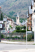 village square and church Esterri d'Aneu, Pyrenees mountains, Catalonia, Spain.