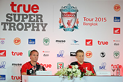 BANGKOK, THAILAND - Monday, July 13, 2015: Liverpool's manager Brendan Rodgers and Lucas Leiva during a press conference at the Plaza Athenee team hotel in Bangkok on day one of the club's preseason tour. (Pic by David Rawcliffe/Propaganda)