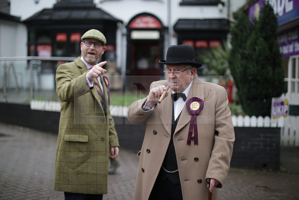 © Licensed to London News Pictures . 28/01/2017 . Stoke-on-Trent , UK . PAUL NUTTALL with Winston Churchill lookalike RICHARD GIBBINS . UKIP formally launch their campaign in the by-election in the constituency of Stoke-on-Trent Central , at their new campaign shop at 1 Piccadilly in Stoke , with candidate - and party leader - Paul Nuttall . The seat was vacated when Tristram Hunt resigned . Photo credit : Joel Goodman/LNP
