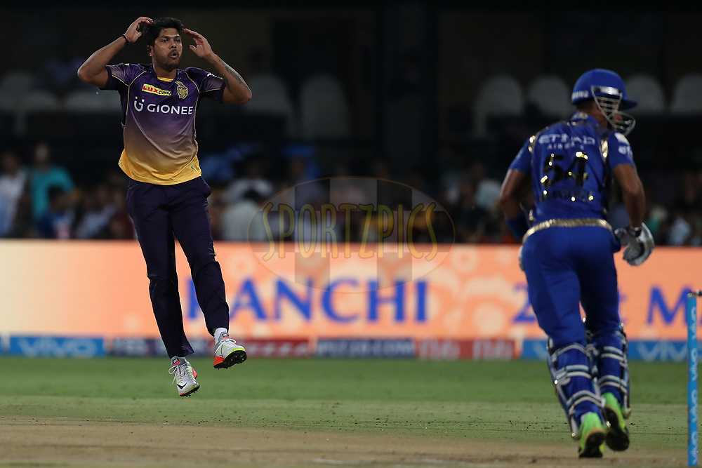 Umesh Yadav of the Kolkata Knight Riders reacts after a delivery during the 2nd qualifier match of the Vivo 2017 Indian Premier League between the Mumbai Indians and the Kolkata Knight Riders held at the M.Chinnaswamy Stadium in Bangalore, India on the 19th May 2017<br /> <br /> Photo by Ron Gaunt - Sportzpics - IPL