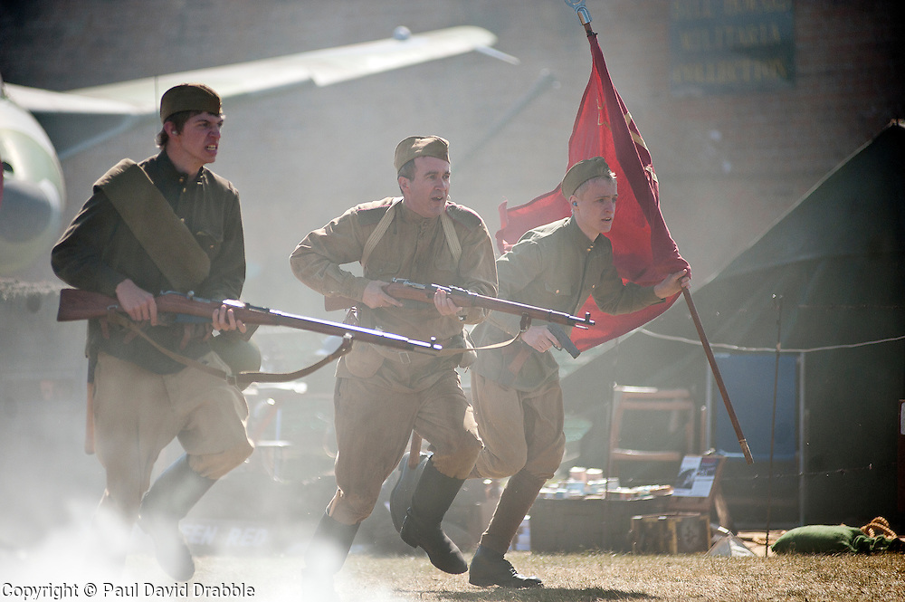 Re-enactors portray Soviet soldiers from the Russian 13th Guards Rifle Division &quot;Poltavaskaya&quot;<br /> at Fort Paull Nr Hull May 2011<br /> Image &copy; Paul David Drabble