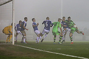 Forest Green Rovers Kieffer Moore(14) shoots at goal scores a goal 1-1 during the Vanarama National League match between Forest Green Rovers and Dover Athletic at the New Lawn, Forest Green, United Kingdom on 17 December 2016. Photo by Shane Healey.