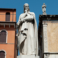 The statue of Dante in Piazza dei Signori in Verona.Verona is a city in Veneton, Northern Italy home to approx. 265,000 inhabitants and one of the seven provincial capitals of the region. Verona has Roman origins and  derived importance from being at the intersection of many roads. It is world famous for the Arena and its Opera....***Agreed Fee's Apply To All Image Use***.Marco Secchi /Xianpix. tel +44 (0) 207 1939846. e-mail ms@msecchi.com .www.marcosecchi.com