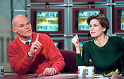 Democratic activist James Carville attacks the Republican Congress for impeaching President Bill Clinton as his wife conservative commentator Mary Matalin looks on during NBC's Meet the Press December 20, 1998 in Washington, DC.