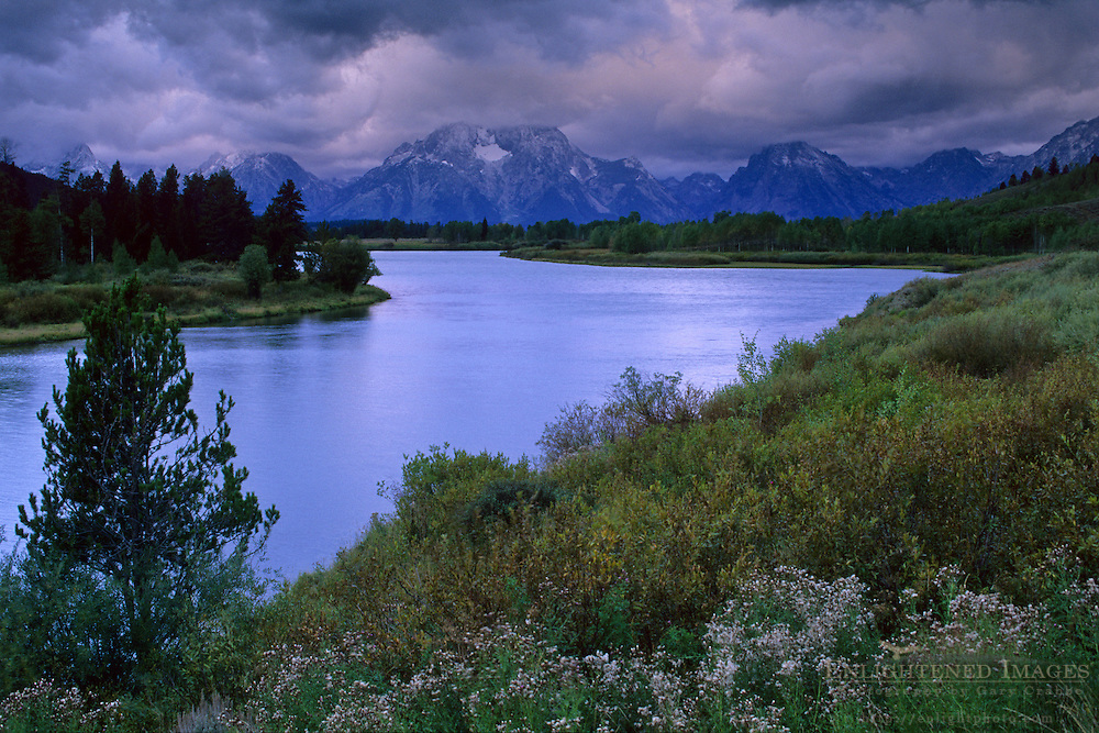 Clouds shroud Mt. Moran on a stormy morning at Oxbow Bend, Snake River, Grand Teton National Park, WYOMING