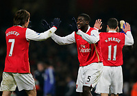 Photo: Tom Dulat/Sportsbeat Images.<br /> <br /> Arsenal v Chelsea. The FA Barclays Premiership. 16/12/2007.<br /> <br /> L to R: Tomas Rosicky, Kolo Toure and Robin Van Persie. Arsenal players celebrate winning over Chelsea.