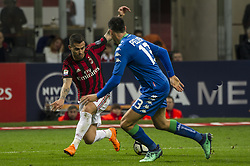 April 8, 2018 - Milan, Milan, Italy - 8th April 2018, San Siro, Milan, Italy; Serie A football, AC Milan versus US Sassuolo; Suso of AC Milan ompetes for the ball with Federico Peluso of US Sassuolo (Credit Image: © Gaetano Piazzolla/Pacific Press via ZUMA Wire)