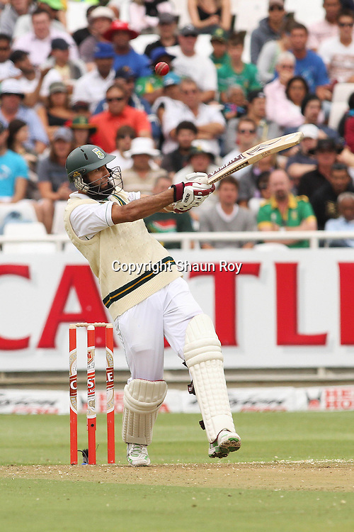 CAPE TOWN, SOUTH AFRICA - 2 January 2011, Hushim Amla of South Africa misses with his pull shot during day 1 of the 3rd Castle Test between South Africa and India held at Sahara Park Newlands Stadium in Cape Town, South Africa on the 2 January 2011 .Photo by: Shaun Roy