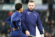 Derby County forward Wayne Rooney with Derby County midfielder Duane Holmes during the EFL Sky Bet Championship match between Derby County and Barnsley at the Pride Park, Derby, England on 2 January 2020.