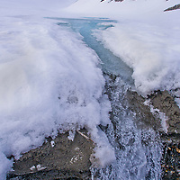 Alberto Carrera, Arctic Lands, Snow Waterfall, Trygghamna Bay, Oscar II Land, Arctic, Spitsbergen, Svalbard, Norway, Europe