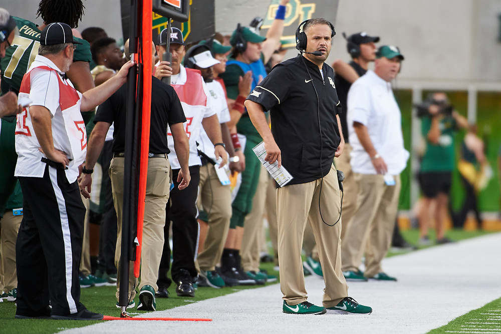 WACO, TX - SEPTEMBER 2:  Baylor Bears head coach Matt Rhule looks on against the Liberty Flames during a football game at McLane Stadium on September 2, 2017 in Waco, Texas.  (Photo by Cooper Neill/Getty Images) *** Local Caption *** Matt Rhule
