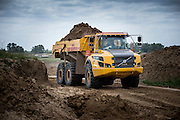 The site where Volvo crawler excavators and dumpers are used for the work on flood protection in the dutch Cortenoever. Photo: Erik Luntang