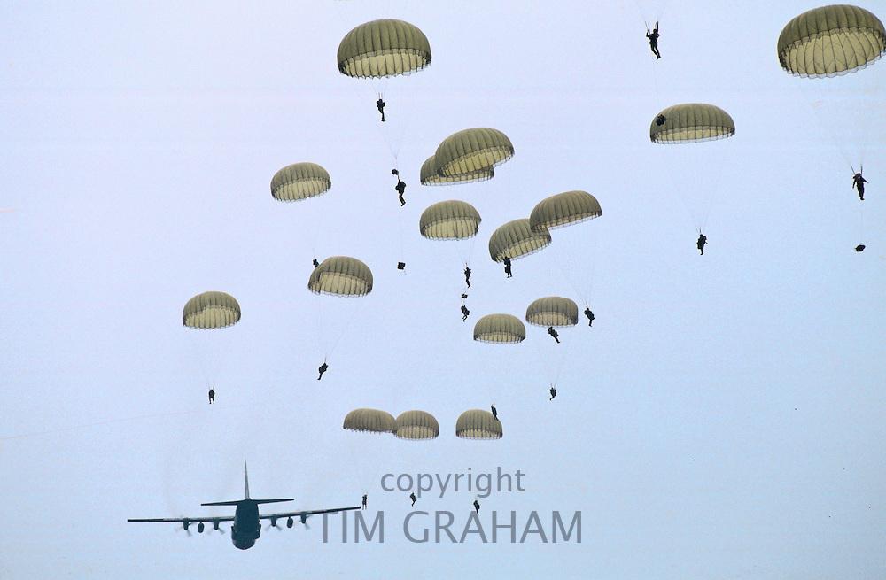 British Parachutists on 50th anniversary of Battle of Arnhem, Ginkel Heide, Netherlands.
