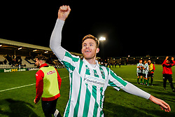 Goalscorer Stephen Turnbull of Blyth Spartans celebrates after his side win 1-2 to progress to the next round of hte FA CUP - Photo mandatory by-line: Rogan Thomson/JMP - 07966 386802 - 05/12/2014 - SPORT - FOOTBALL - Hartlepool, England - Victoria Park - Hartlepool United v Blyth Spartans - FA Cup Second Round Proper.