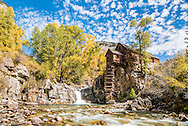The historic Crystal Mill in autumn in Crystal, Colorado.