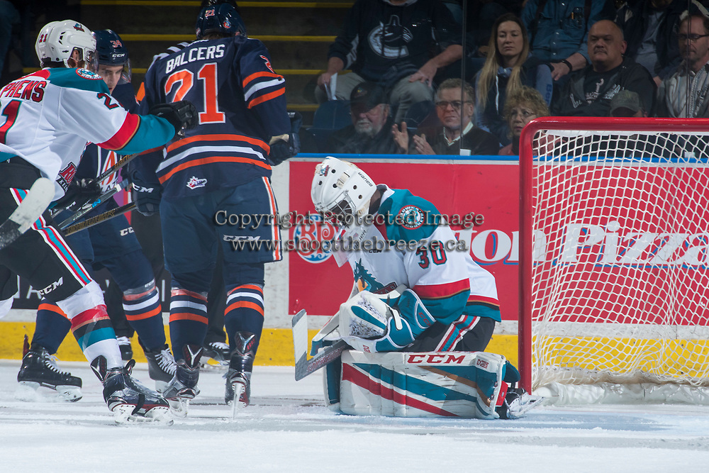 KELOWNA, CANADA - MARCH 25: Michael Herringer #30 of the Kelowna Rockets makes a save against the Kamloops Blazers on March 25, 2017 at Prospera Place in Kelowna, British Columbia, Canada.  (Photo by Marissa Baecker/Shoot the Breeze)  *** Local Caption ***