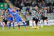 Notts County's Robert Milsom and Plymouth Argyle's Graham Carey during the Sky Bet League 2 match between Plymouth Argyle and Notts County at Home Park, Plymouth, England on 27 February 2016. Photo by Graham Hunt.