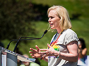 09 JUNE 2019 - DES MOINES, IOWA: US Senator KIRSTEN GILLIBRAND, (D-NY), a Democratic candidate for the US presidency, speaks at Capital City Pride Fest. Many of the Democratic presidential candidates campaigned at Capital City Pride Fest in Des Moines Saturday. Iowa traditionally hosts the the first selection event of the presidential election cycle. The Iowa Caucuses will be on Feb. 3, 2020.                   PHOTO BY JACK KURTZ