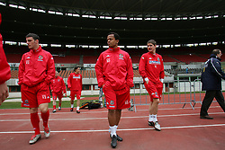 VIENNA, AUSTRIA - TUESDAY MARCH 29th 2005: Wales' Robert Earnshaw and Carl Robinson walk out for a training session at the Ernst Happel Stadium ahead of their World Cup Qualifying Group Six match against Austria. (Pic by David Rawcliffe/Propaganda)