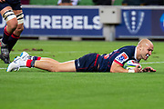 MELBOURNE, AUSTRALIA - APRIL 06: Billy Meakes of the Rebels scores a try at round 8 of The Super Rugby match between Melbourne Rebels and Sunwolves on April 06, 2019 at AAMI Park in VIC, Australia. (Photo by Speed Media/Icon Sportswire)