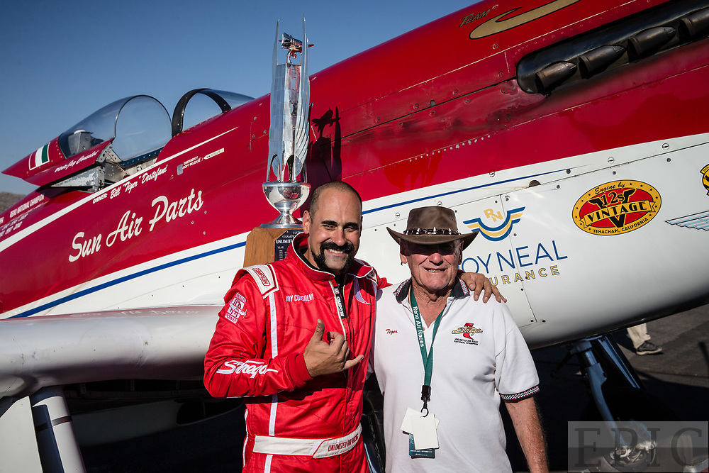 RENO, NV - SEPTEMBER 17: Pilot Jay Consalvi poses with airplane owner Tiger Destefani after winning the unlimited gold class on the final day of the Reno Championship Air Races on September 17, 2017 in Reno, Nevada. (Photo by Jonathan Devich/Getty Images) *** Local Caption *** Jay Consalvi; Tiger Destefani