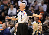 Jan. 14, 2013; Phoenix, AZ, USA; NBA official Dick Bavetta reacts on the court during the Oklahoma City Thunder and Phoenix Suns game at the US Airways Center. The Thunder defeated the Suns 102-90. Mandatory Credit: Jennifer Stewart-USA TODAY Sports.